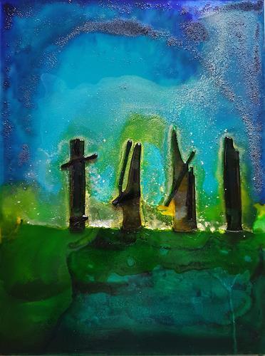 WWSt, Druiden im Moor, Abstraktes, Fantasie, Expressionismus