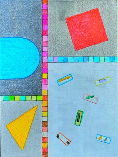WWSt, Komposition mit Farbfeldern und Objekten, Abstraktes, Bauhaus