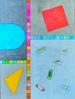 WWSt, Komposition mit Farbfeldern und Objekten