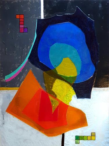 WWSt, Komposition mit Farbfeldern und Glasscherben 1, Abstraktes, Colour Field Painting, Abstrakter Expressionismus