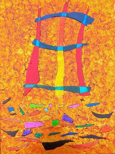 WWSt, Komposition mit Glasscherben 1, Abstraktes, Abstrakte Kunst, Expressionismus