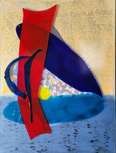 WWSt, Komposition mit Farbfeldern und Glasscherben 2, Abstraktes, Colour Field Painting, Abstrakter Expressionismus