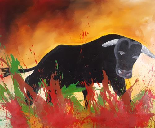 Ludwig Baumeister, Stampfender Stier, Tiere: Land, Abstrakte Kunst