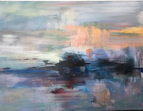 Olga Knoblauch, Sonne Ausgang, Landschaft, Abstrakte Kunst, Expressionismus