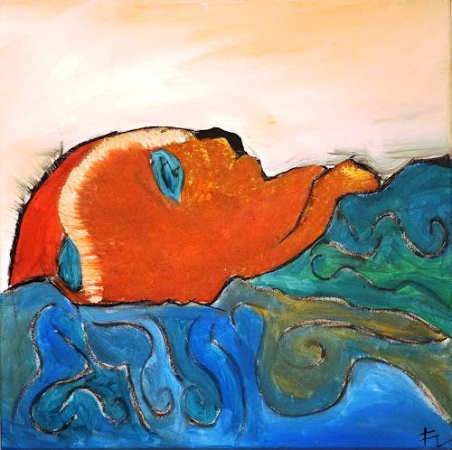Fabian Langer, Head in the Blue, Menschen: Gesichter, Abstraktes, Konzeptkunst, Abstrakter Expressionismus
