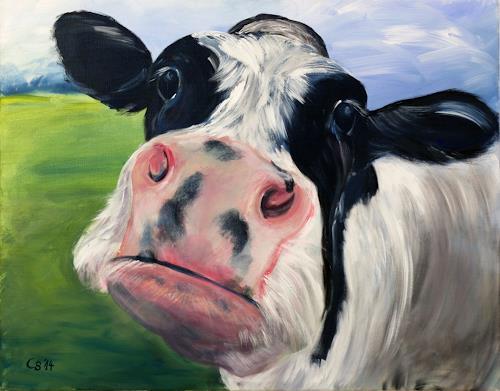 Claudia Beck, Kuh Flecki, Tiere: Land, Tiere: Land, Naive Kunst