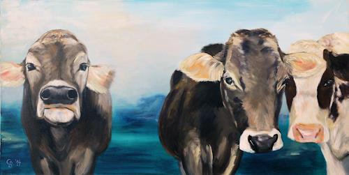 Claudia Beck, Kühe 3 ohne Hörner, Tiere: Land, Tiere: Land, Naturalismus