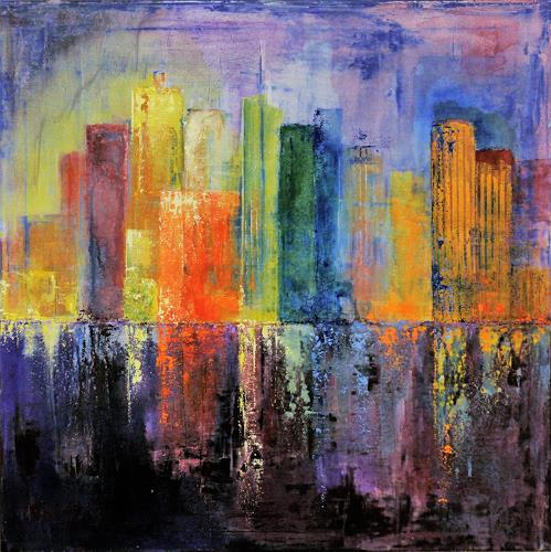 Claudia Beck, Skyscraper orange, Bauten: Hochhaus, Abstrakte Kunst