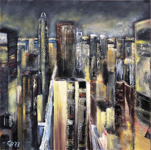 Claudia Beck, Skyscraper grey, Bauten: Hochhaus, Abstrakte Kunst