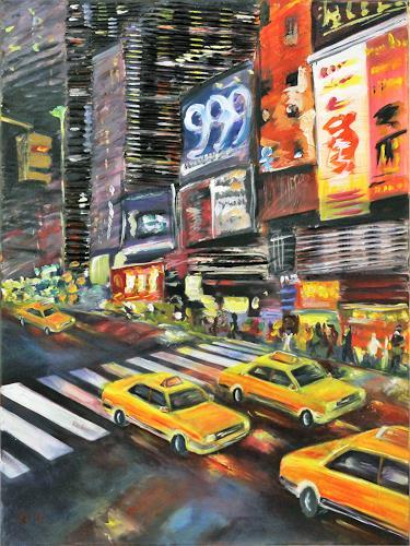 Claudia Beck, New York Yellow Cabs, Bauten: Hochhaus, Verkehr: Auto, Abstrakte Kunst