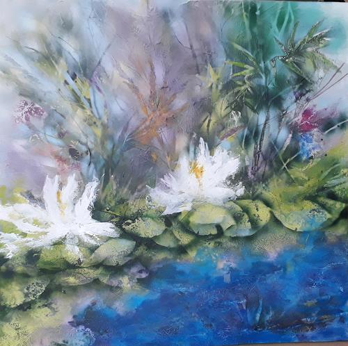 Marion Schmidt, Waterlilies, Landschaft: See/Meer, Abstraktes, Abstrakte Kunst, Expressionismus