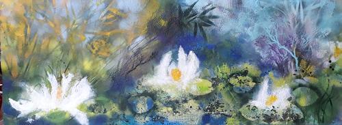 Marion Schmidt, Waterlilies (2), Landschaft: See/Meer, Pflanzen: Blumen, Abstrakte Kunst