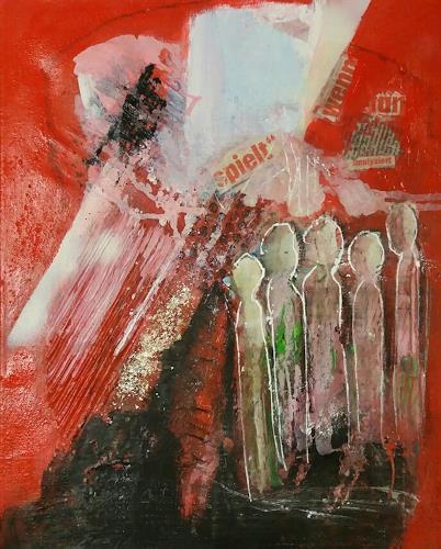 Margret Obernauer, Bowling, Abstraktes, Spiel, Abstrakte Kunst, Abstrakter Expressionismus