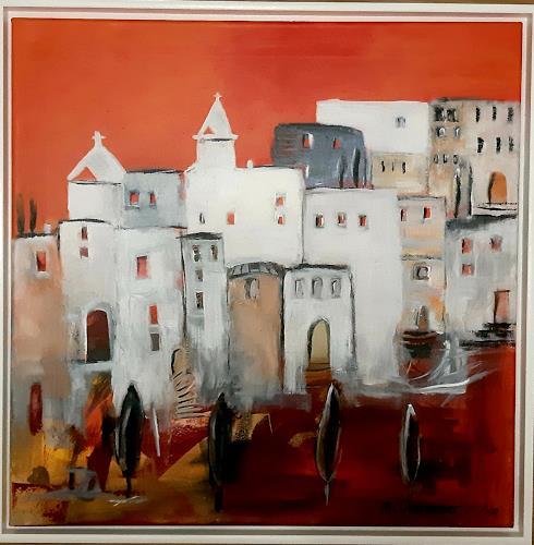 Margret Obernauer, Stadt, Landschaft, Bauten, Naive Kunst