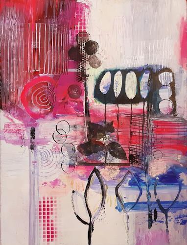Margret Obernauer, Garden l, Abstraktes, Diverse Pflanzen, expressiver Realismus