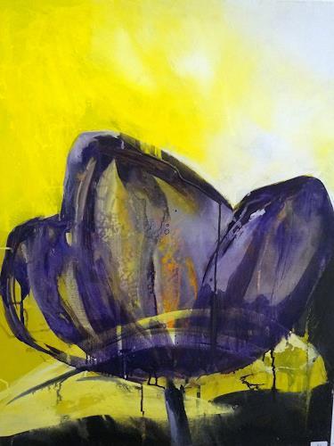 Margret Obernauer, lila Tulpe, Pflanzen: Blumen, Natur, expressiver Realismus