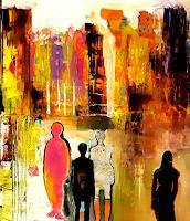 Margret-Obernauer-Menschen-Gruppe-Abstraktes-Moderne-Expressionismus-Abstrakter-Expressionismus