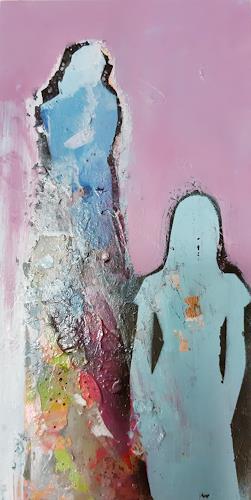 Margret Obernauer, Blue Woman, Menschen: Gruppe, Menschen, Art Déco, Abstrakter Expressionismus