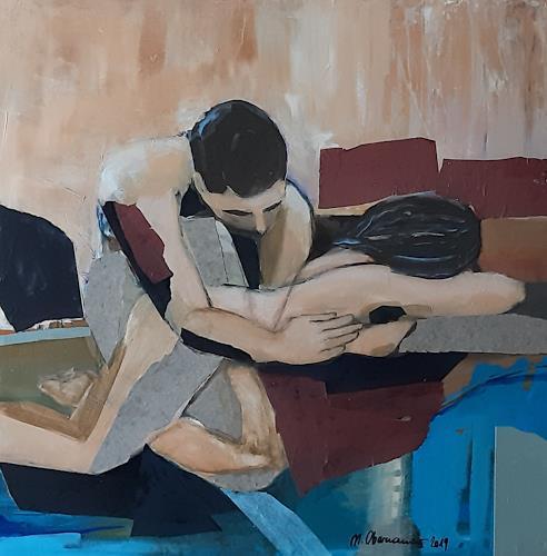 Margret Obernauer, Vertrauen, Menschen, Akt/Erotik, Neue Figurative Malerei, Expressionismus