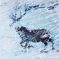 Margret-Obernauer-Landschaft-Winter-Tiere-Land-Moderne-Naive-Kunst