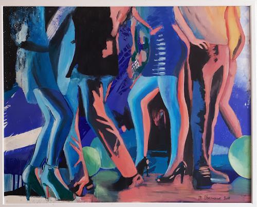 Margret Obernauer, Partytime, Gefühle: Freude, Menschen: Gruppe, Fotorealismus, Abstrakter Expressionismus