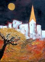 Margret-Obernauer-Landschaft-Huegel-Bauten-Kirchen-Moderne-expressiver-Realismus
