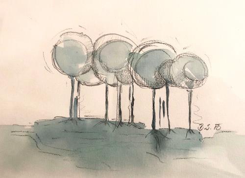 Sissi Brunner-Schützelhofer, Trees, Diverse Landschaften, Abstrakte Kunst