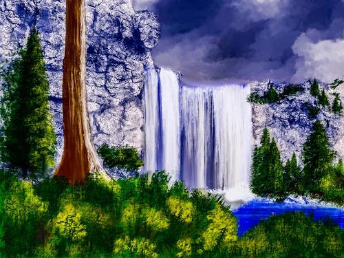 Keep Magic, Wasserfall, Landschaft: Berge, Natur: Gestein, Land-Art