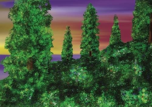 Keep Magic, Bäume am Hügel, Landschaft: Hügel, Abstraktes, Abstrakte Kunst
