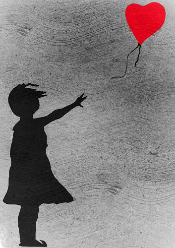 Keep Magic, Girl with balloon (a tribute to Banksy), Menschen: Kinder, Gefühle: Liebe, Gegenwartskunst, Expressionismus