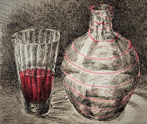 Susanne Thäsler-Wollenberg, Flasche und Glas, Stilleben, Skurril, expressiver Realismus