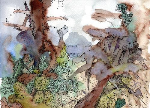 Susanne Thäsler-Wollenberg, Alter Wald, Landschaft, Fantasie, Expressionismus