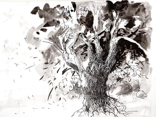 Susanne Thäsler-Wollenberg, Baum an der Kirche, Pflanzen: Bäume, expressiver Realismus