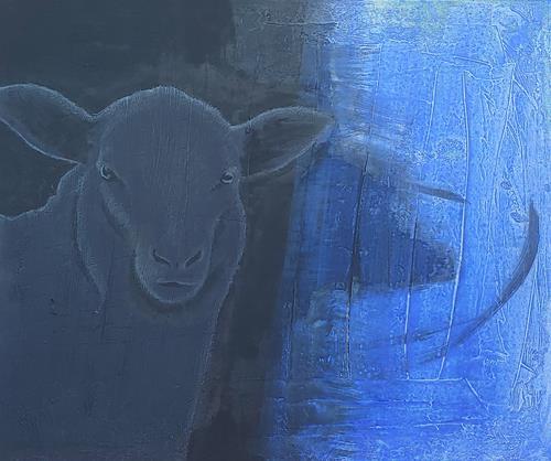 Regina Hermann, Schwarze Schafe geben nie auf / black sheeps never give up, Tiere, Abstrakte Kunst