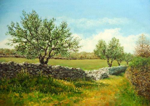Kristina Valić, Olive trees, Landschaft, Pflanzen: Bäume, Impressionismus, Expressionismus