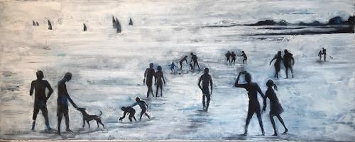 Nora Block, On the beach, Menschen: Gruppe, Situationen, Gegenwartskunst