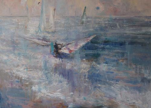 Natalia Simonenko, Blaue Sonne, Landschaft: See/Meer, Romantik, Abstrakter Expressionismus