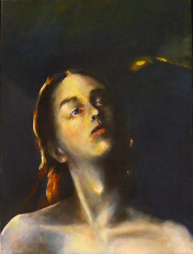 Andreas Lochter, junge Frau, geheimnisvoll,, Menschen: Frau, Realismus, Abstrakter Expressionismus