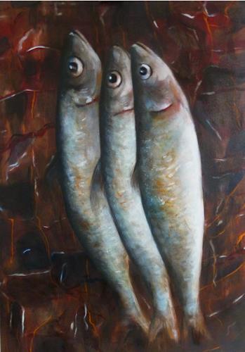 Andreas Lochter, Fische, sie haben sich zusammengetan, Tiere: Wasser, Gegenwartskunst, Expressionismus
