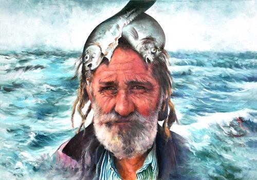 Geert Bordich, Fisherman's Proud, Menschen: Mann, Realismus, Abstrakter Expressionismus