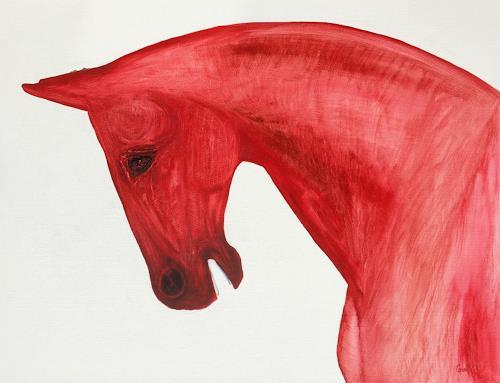 Claudia Caseri, Red, Tiere: Land, Tiere, Gegenwartskunst, Abstrakter Expressionismus