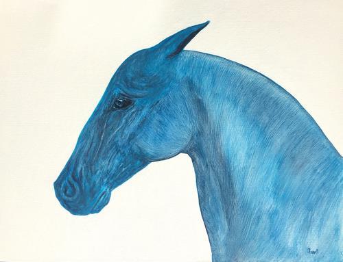 Claudia Caseri, Blue, Tiere: Land, Tiere, Gegenwartskunst, Abstrakter Expressionismus
