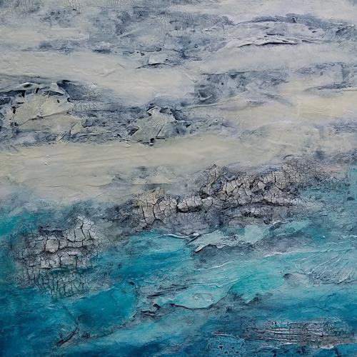 Jutta Mahnke, Meeresrauschen 1, Landschaft: See/Meer, Abstrakter Expressionismus