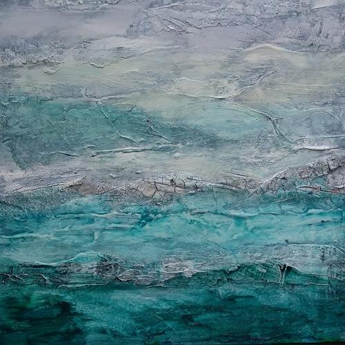 Jutta Mahnke, Meeresrauschen 2, Landschaft, Abstrakte Kunst, Expressionismus