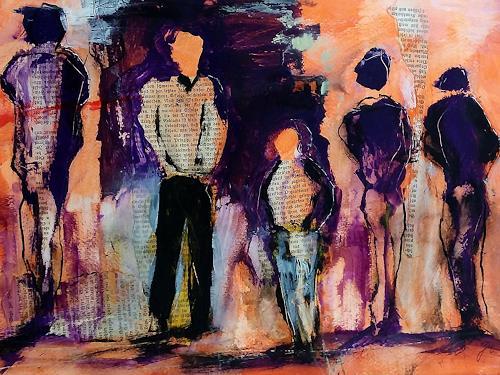 Jutta Mahnke, o.T., Menschen, Abstrakte Kunst, Expressionismus