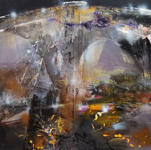 oneiricgallery, LARGE FRAMED ACRYLIC ABSTRACT LANDSCAPE MINDSCAPE LIGHTSCAPE THE NIGHT SECRET GARDENS BY O KLOSKA, Abstraktes, Landschaft: Herbst, Action Painting, Abstrakter Expressionismus