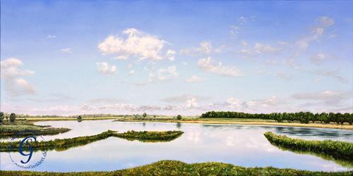 Sabine Geddert, Wolkenfluss, Landschaft: See/Meer, Fantasie, Surrealismus