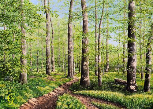 Sabine Geddert, Frühlingserwachen, Landschaft: Frühling, Fantasie, Surrealismus