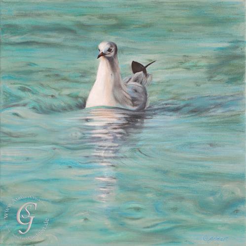 Sabine Geddert, Seagull in motion, Tiere: Wasser, Fantasie, Surrealismus