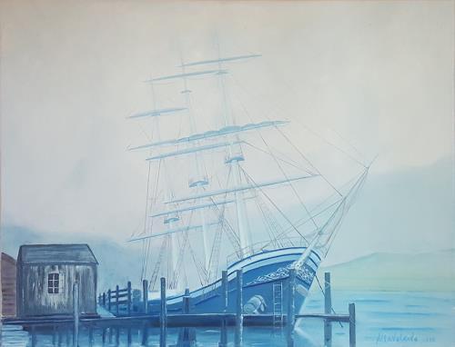 Alla Alevtina Volkova, Sailboat In The Old Port, Landschaft: See/Meer, Verkehr: Schiff, Art Déco
